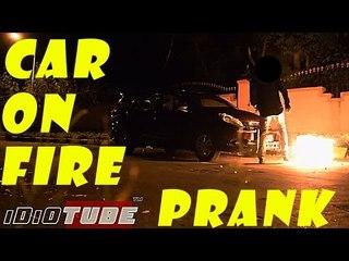 Hidden Camera: Car Catching Fire Prank - iDiOTUBE