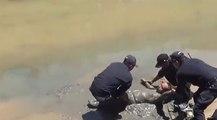 Un homme ivre repêché dans une rivière.