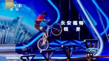 Challenger Takes On Steep Stairs With Bicycle