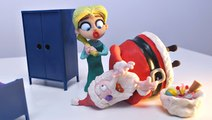 Santa Claus Breaking and Entering Elsa's Place | Christmas Play Doh Stop Motion