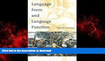 Best book  Language Form and Language Function (Language, Speech, and Communication) online to buy
