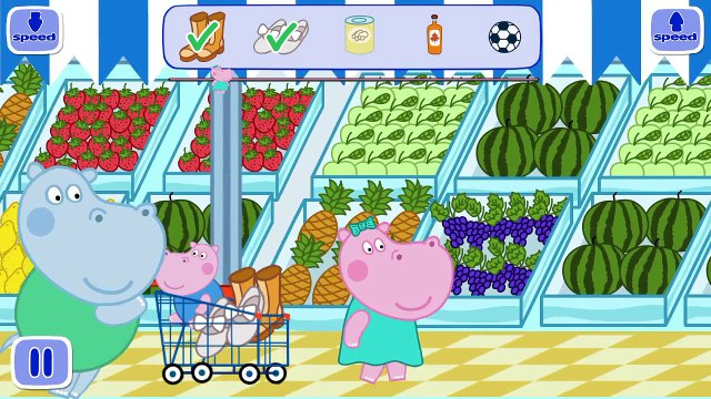 Hippo Peppa pig Supermarket baby in supermarket App for kids free game gameplay hippo peppa