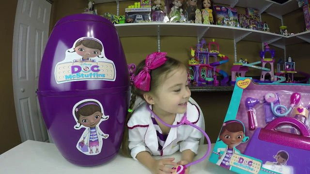 HUGE SURPRISE EGG DOC MCSTUFFINS + Surprise Toys + Play-Doh Doc McStuffins Kid-Friendly Toy Opening