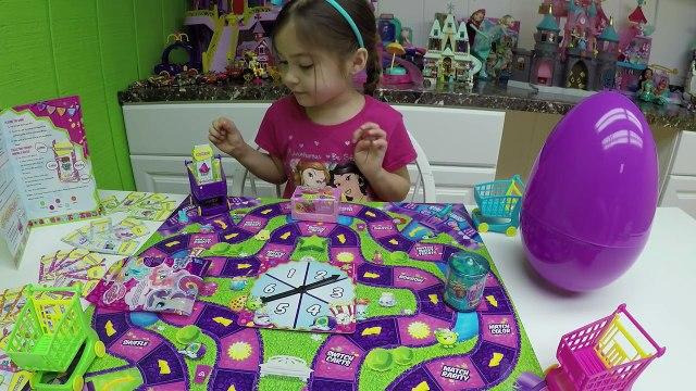 FAMILY FUN KIDS GAME SHOPKINS SHOPPING CART SPRINT + Big Egg Surprises Opening Surprise Toys