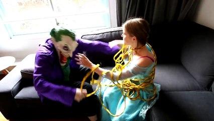 Frozen Elsa vs Joker vs Spiderman - Frozen Princess Elsa Kidnapped! Superhero Fun in Real Life