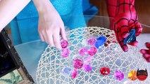 Frozen Elsas GROSS TONGUE! w/ Spiderman Maleficent Joker Pink Spidergirl Candy! Funny Superheroes