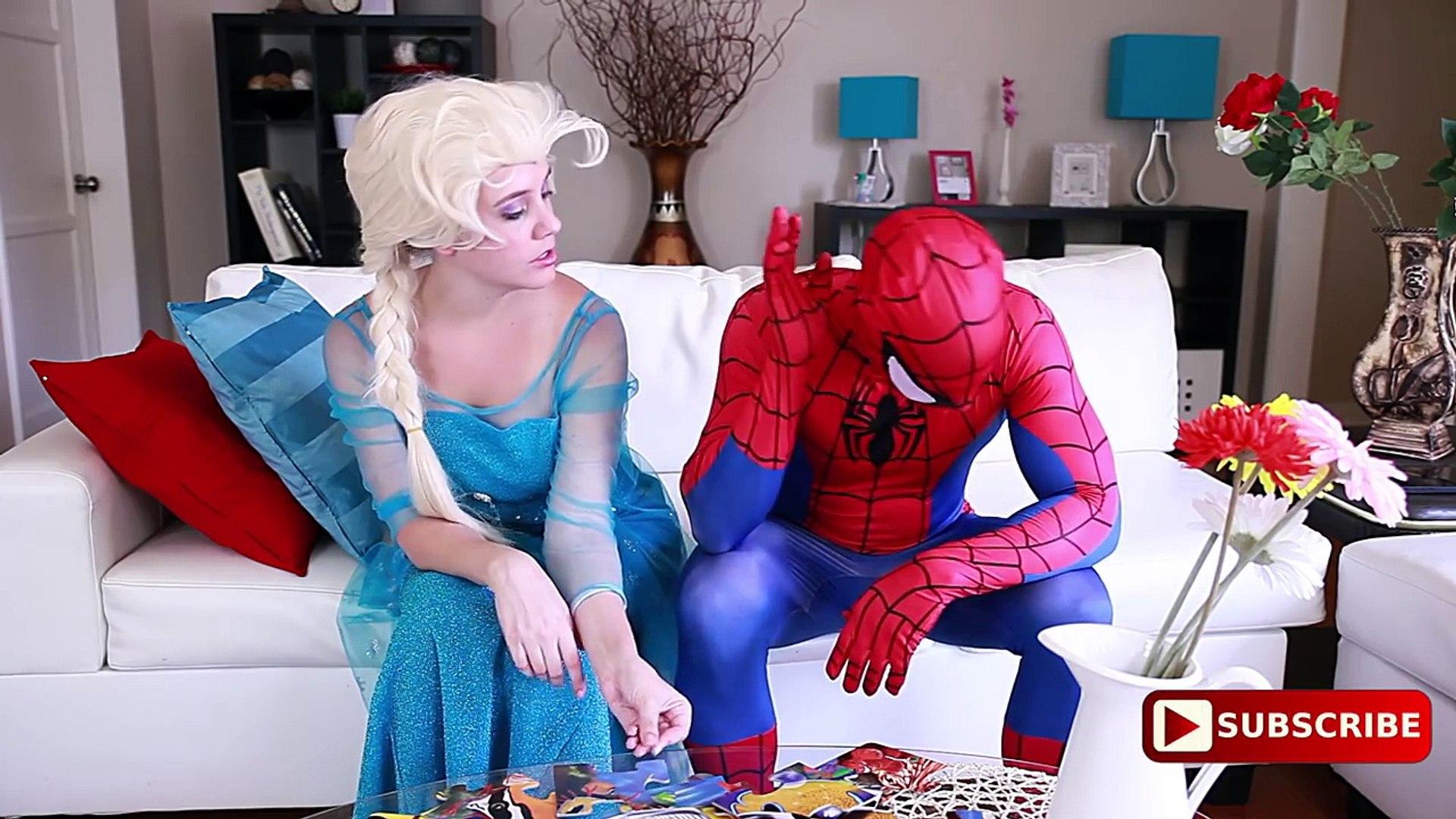 Spiderman Frozen Elsa TONGUE TWIST w/ UGLY Maleficent Joker Pink Spidergirl Anna! Green Spiderman