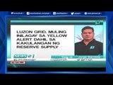 [News@1] Luzon Grid, muling inilagay sa yellow alert dahil sa kakulangan ng reserve supply