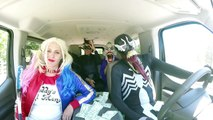 Villains vs Superheroes Dancing in a Car Harley Quinn Venom black spiderman the joker catwoman