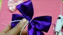 Diy Ribbon hair bows with pearls,hair bow tutorial,how to make