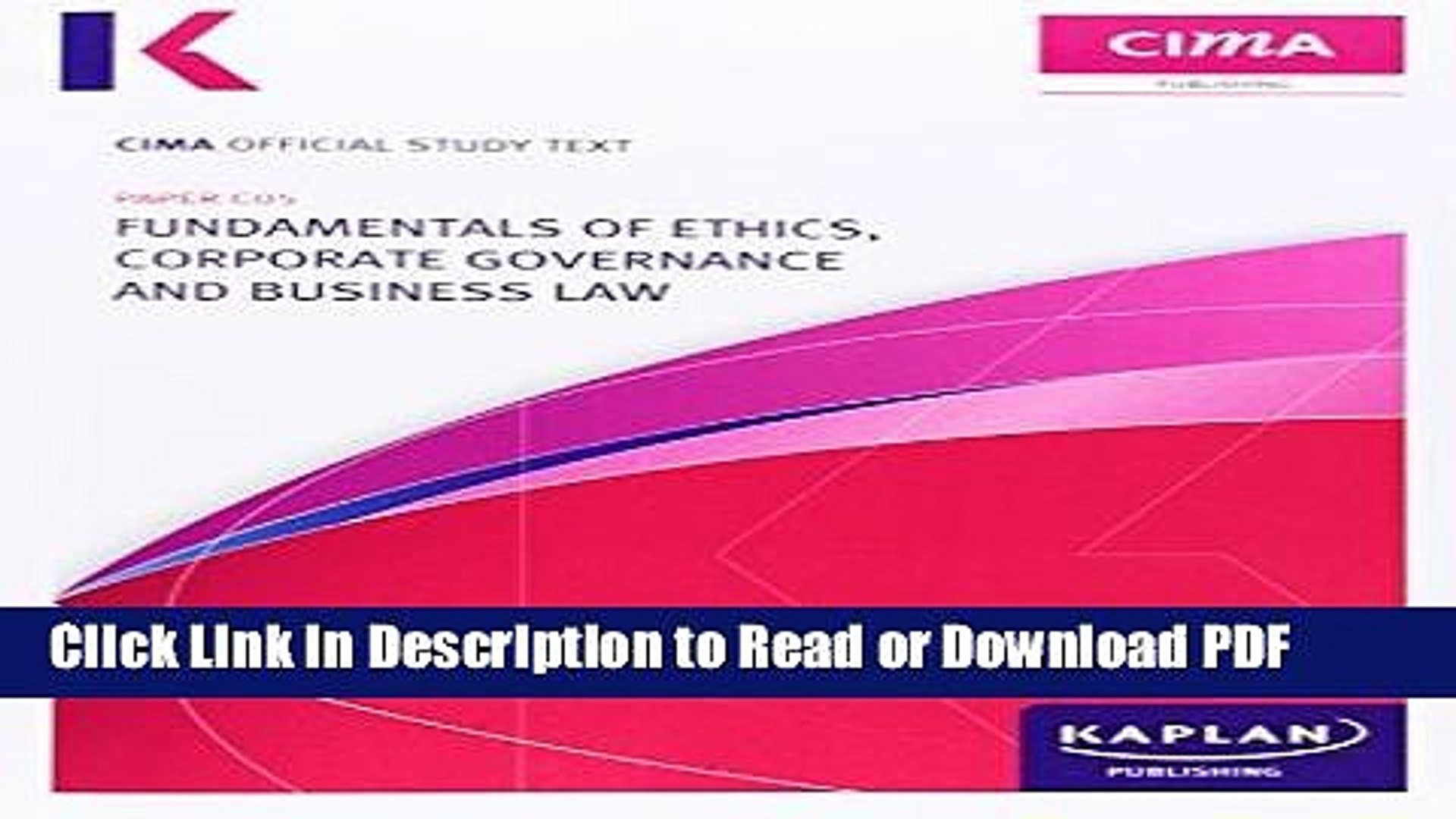 Download C05 Fundamentals of Ethics, Corporate Governance and Business Law  - Study Text Book Online