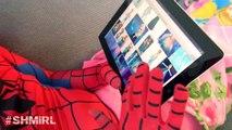 Pink SPIDERGIRL Frozen Elsa Spiderman Spidergirl Elsa Kisses Spiderman Fun In Real Life SHMIRL