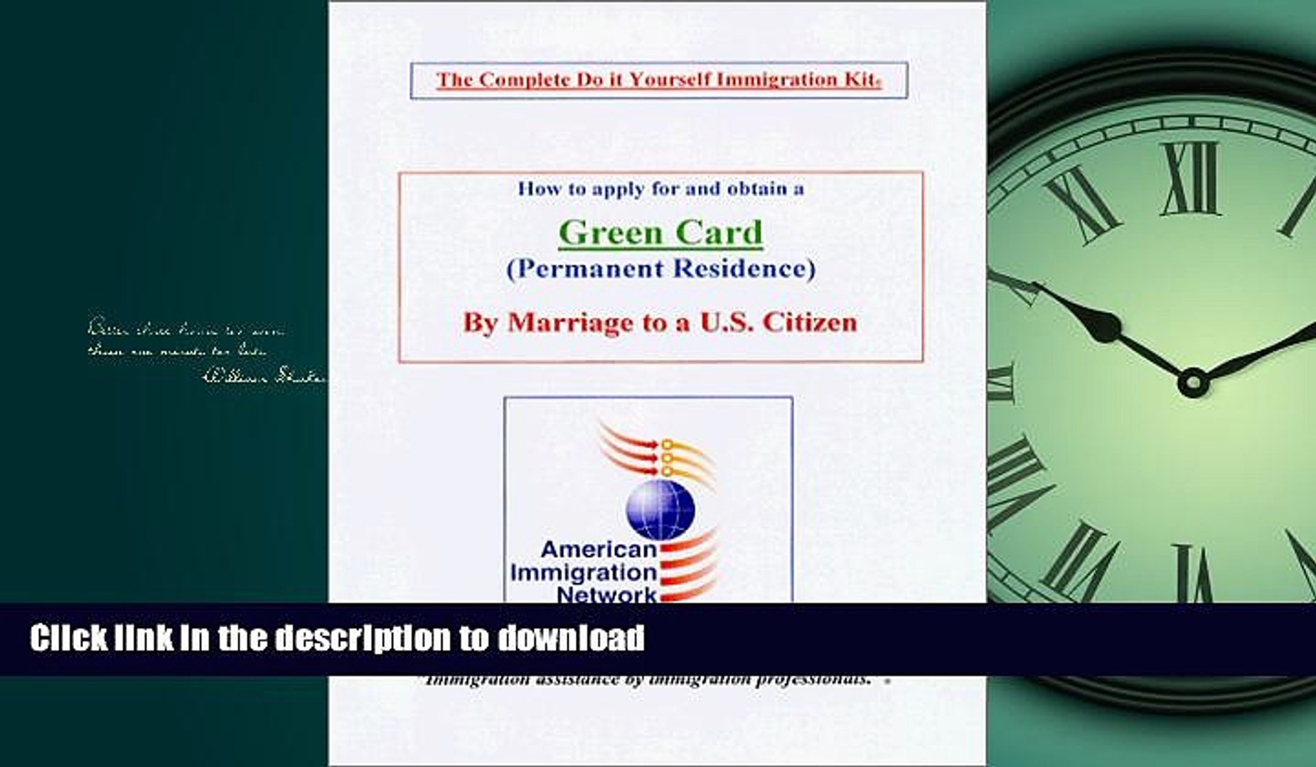 READ BOOK  How to apply for and obtain a Green card by Marriage to a U.S. Citizen - The Complete