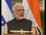 PM Modi at Joint Press Statements with the President of Israel, Mr  Reuven Rivlin with PMO India