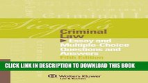 PDF Siegel s Criminal Law: Essay and Multiple-Choice Questions and Answers (Siegel s Series)
