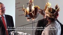 Le chef papou Mudiya Kepanga offre sa coiffe au Musée de l'Homme