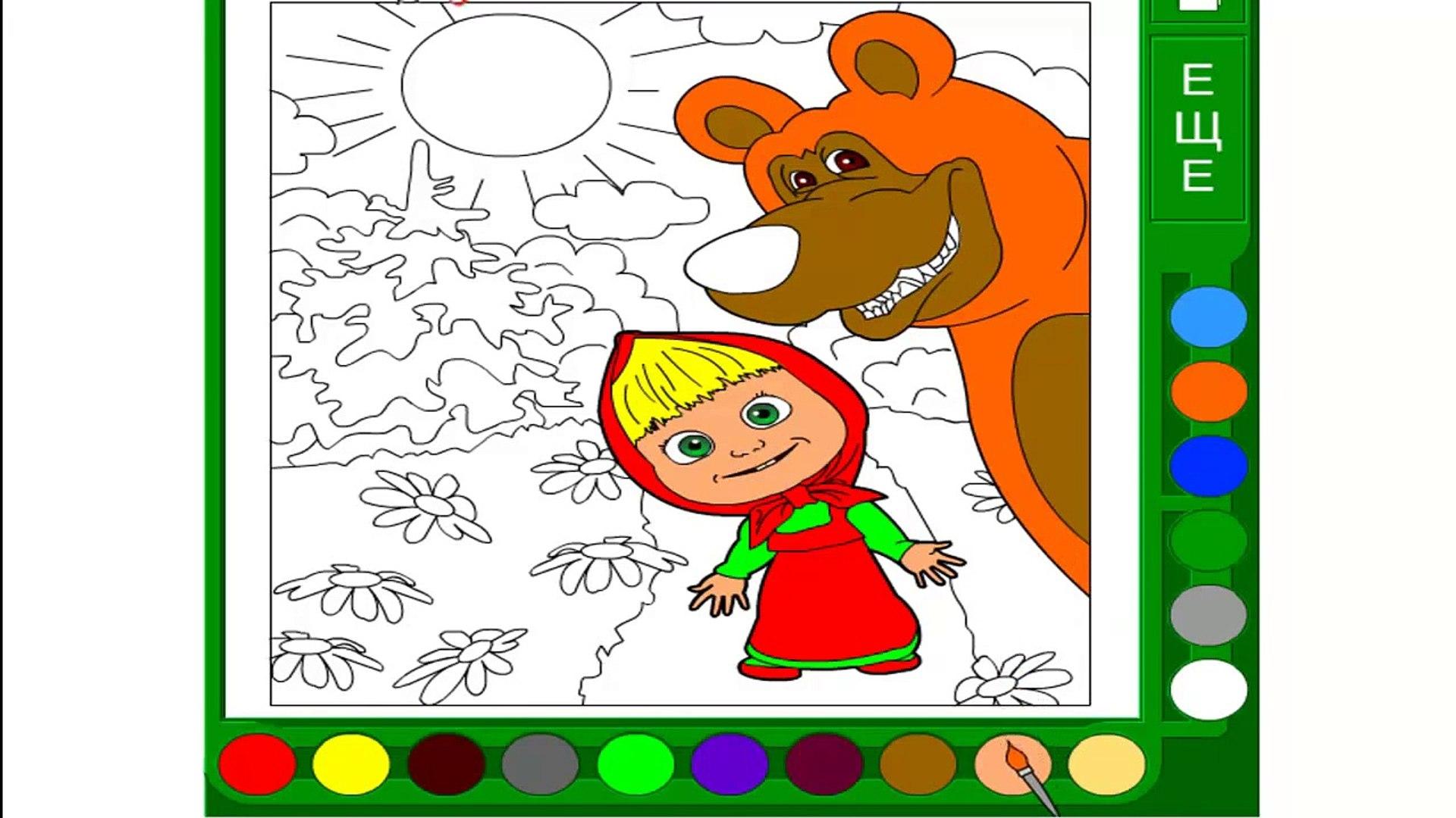 Развивающая игра раскраска для детей с Машей и Мишей