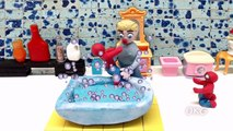 Fun Baby Spiderman Bathing Video Play DOh Stop Motion Animation