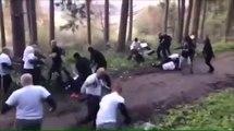 Les hooligans de Nancy et Strasbourg rencontrent ceux du Feyenoord Rotterdam dans un bois et s'eclatent la tête