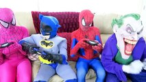 Spiderman vs Joker vs Batman - Spiderman Becomes A Spider! w/ Pink Spidergirl - Fun Superheroes :)