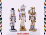 10 Holly Wood Silver White & Gold Nutcrackers - Set Of 3