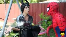 Spiderman vs Maleficent Joker Ugly Pink Spidergirl and Anna Superhero w/ Why is Frozen Elsa CRYING