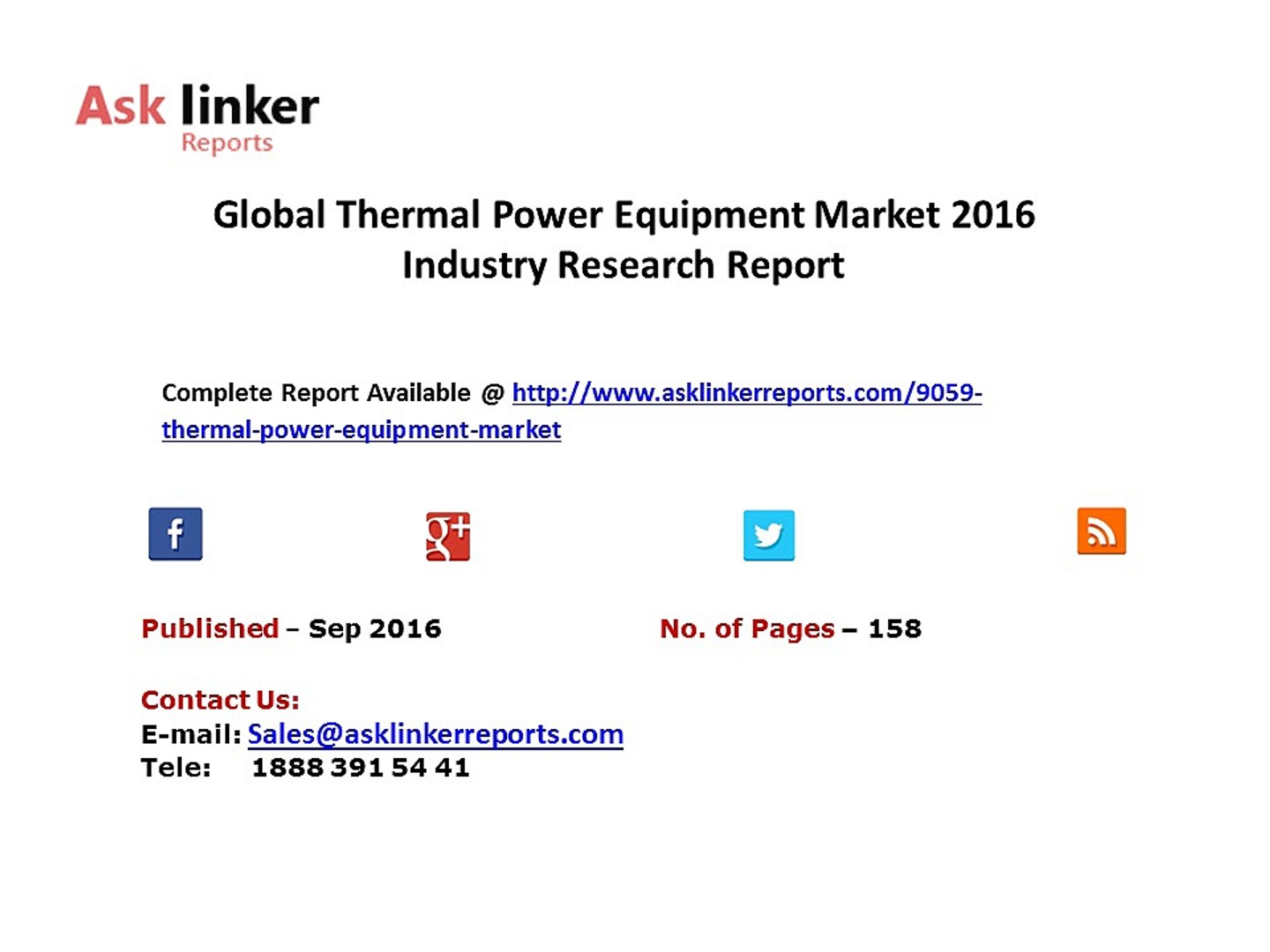 Thermal Power Equipment Market 2016-2020 New Market Entry Strategies, Investment Proposal and New Pr