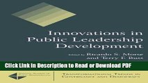 Read Innovations in Public Leadership Development (Transformational Trends in Goverance and