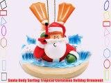 Santa Body Surfing Tropical Christmas Holiday Ornament