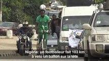 Un footballeur fait 103km à vélo un ballon sur la tête
