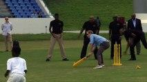 Prince Harry plays cricket in Antigua