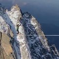 Amazing rope stunt between two mountain