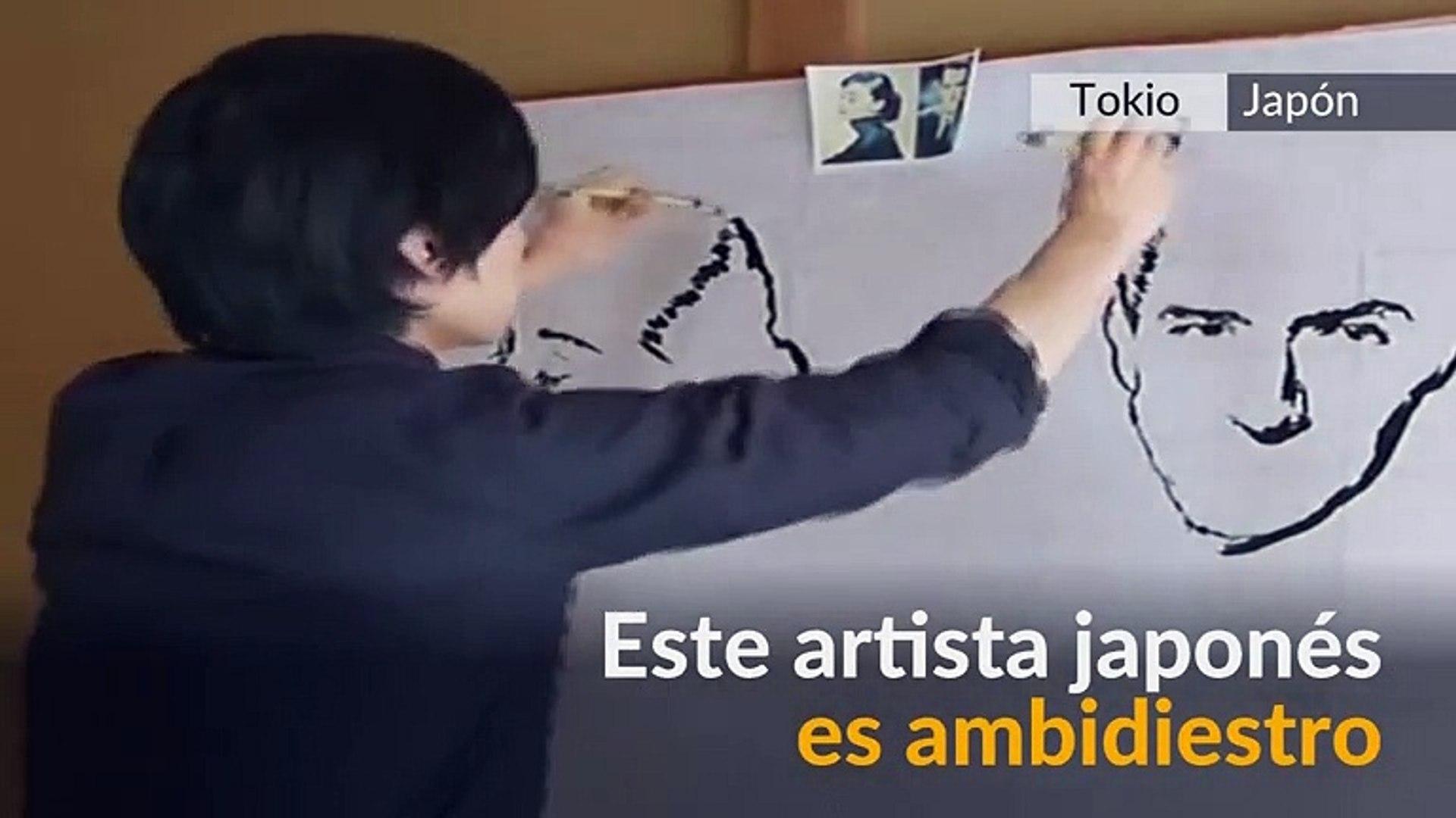 ¡Talento doble! El artista que pinta dos imágenes al tiempo