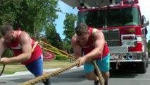 2 hommes tirent 3 camions de pompiers à mains nues ! 86000kgs !