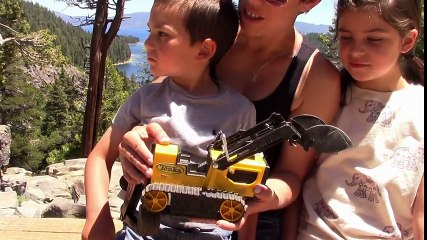 Construction Truck Adventure for Kids - JackJackPlays Tahoe Vacation 2 - Backhoe at Waterfall