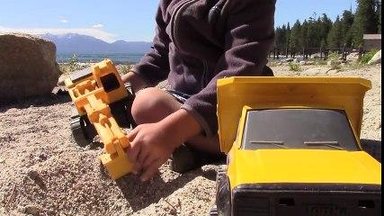 Construction Trucks for Kids  Beach Playtime Tahoe Vacation 4 - Excavator Dump Truck Monster Truck