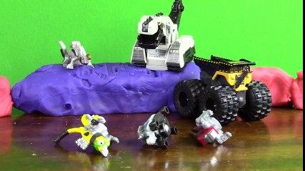 Dino Trucks Toys! DINOTRUX Monster Truck Arena + ScrapTools D-Structs Garby