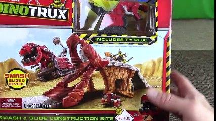 Dino Trucks Toys! DinoTrux Smash & Slide Construction Site UNBOXING