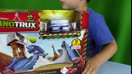 Dino Trucks Toys! UNBOXING DinoTrux Rock & Load Skate Park + Play