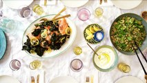 Lemon-Roasted Side of Salmon with Quinoa Salad and Crispy Greens