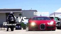 Kawasaki Ninja H2r vs Bugatti Veyron Drag Race 2016 and Lamborghini Aventador vs F16 Fighting Falcon