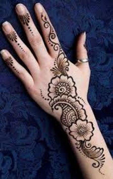bel mehndi design back hand