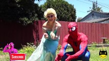 Spider Man and Elsa Queen in Real Life - Frozen Elsa KISS Frozen Anna Spiderman Cry Gym Prank Elsa Married