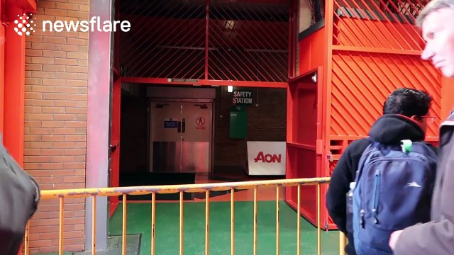 Football fans spend the night at Man Utd stadium to watch Premier League game