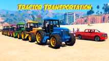 Tractor Transportation with Spiderman & Mickey Mouse! Cars Cartoon For Kids w Nursery Rhymes Songs
