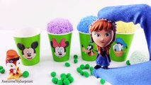Paw Patrol Dora Elsa Mickey Mouse Play Doh Ice Cream Clay Foam Cups Learn Colors Episodes Review