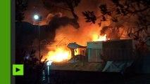 Un gigantesque incendie s'est déclaré dans le camp de réfugiés de l'ile de Lesbos