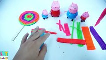 PLAY DOH Lollipop Clay Toys! - MAKE Cake Playdoh Rainbow for peppa pig - LQT Kids Toys