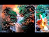 Spray paint forest fire, spray wave, landscapes, waterfalls and more - Spray paint art fun