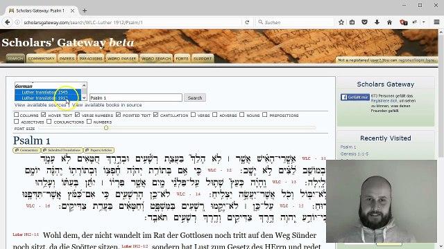 Hebräisch Online-Morphologie bei Scholars' Gateway